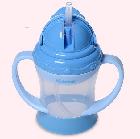 Kidsme PP Safety Baby Double-handle Leak-proof Straw Cup 6 Ounces BPA Free (blue)