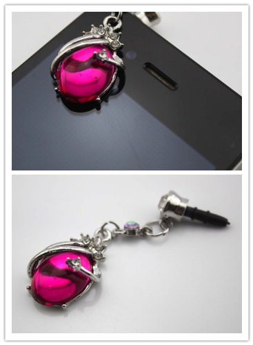Nine States Universal 3.5Mm Diamond Crystal Unique Jade Superman Shape Anti-Dust Earphone Jack Plug Stopper For Apple Iphone5 Iphone4/4S Itouch4 Itouch5 And Samsung Galaxy S2/S3/S4 Note Note2 Sony Htc Blackberry Plum