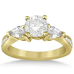 Pear Shape and Round Diamond Three Stone Channel Set Engagement Ring 18k Yellow Gold Setting (0.51ct)