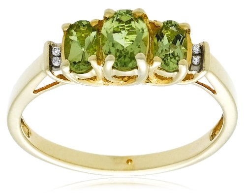 10k Yellow Gold August Birthstone 3-Stone Peridot with Diamond-Accent Ring, Size 7