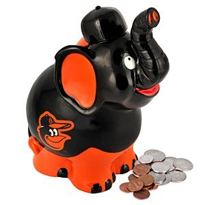 MLB Baltimore Orioles Thematic Elephant Piggy Bank - 1