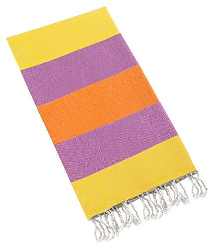 Swan Comfort 100% Natural Turkish Cotton Peshtemal for Beach Shower Bath Hammam Guest - Fast Drying - Orange - Yellow - Purple (Towel Clips Shark compare prices)