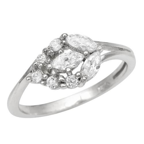 Sterling Silver 1.5 CTW Cubic Zirconia Ladies Ring. Ring Size 6. Total Item weight 3.0 g.