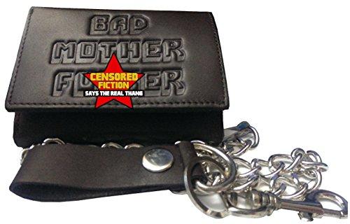 BMF Embossed Biker Tri-fold Wallet with Chain Dark Brown Version