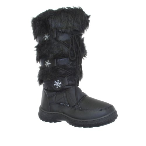 WOMENS BLACK LADIES SNOW WINTER FUR BOOTS Size 3-9