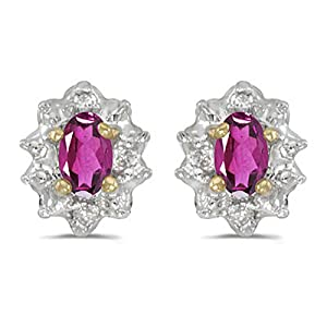 Diamond and 5 x 3 MM Oval Shaped Pink Topaz Earrings in 14K Yellow Gold (0.01 cttw)