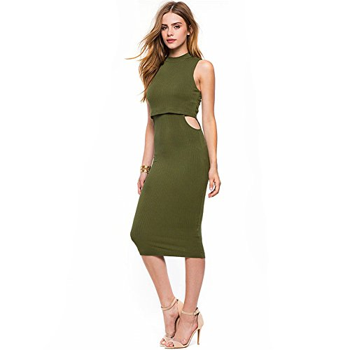 Foru Harper finto due pezzi vita Pierced Vest Dress Green XX-Large