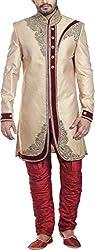 Amafhh Men's Silk Sherwani amfw9827_40 Gold 40