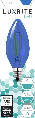 Luxrite LR21264 BLUE LED Filament Candelabra Light Bulb, 4-Watt Equivalent to 40w incandescent, Bright Blue Color, 350 Lumens, 15,000 Hr Life, E12 Candelabra Base (Nightlight Lightbulbs Blue compare prices)