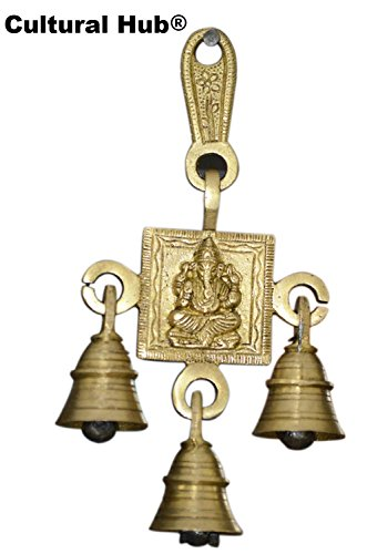 Cultural Hub ® J92-140-0014 Ganesha (Ganesh, Vakratunda, Vinayak, Lambodar, Ganpati, Gajanan) Brass Wall Hanging with 3-bells, Hanging Temple Bell with Hindu Deity, Hand Crafted Brass, Antique Look, Rustic Finish, Vintage Decorative, Valuable Collection