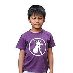 Snowflakes Boys' Violet Tshirt with Giraffe Print