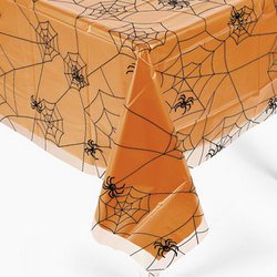 "Halloween Spider Web Design Plastic Table Cover 54"" X 108"" front-956204"