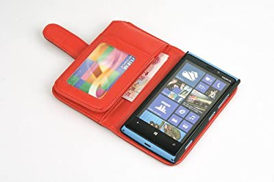 Hanicase (TM) FULL SIZE CASH POCKET LEATHER CARD WALLET CASE FOR NOKIA LUMIA 920 RED by Hanicase