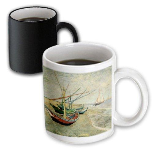 Bln Sailing Ships And Seascapes Fine Art Collection - Boats On The Beach At Saintes-Maries By Vincent Van Gogh - Mugs - 11Oz Magic Transforming Mug