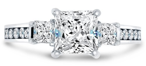 Size 6 - Solid 14k White Gold Highest Quality CZ Cubic Zirconia 3 Three Stone Engagement Ring - Princess Cut Solitaire with Round Side Stones (1.75cttw., 1.5ct. Center)