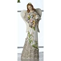 Inspirations Religious Easter Angel with Flowers Wicker-Style Figures