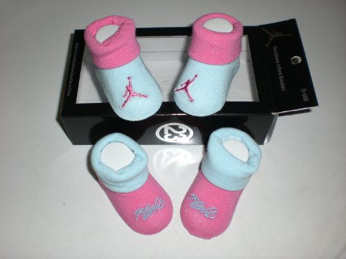 Nike Air Jordan Newborn Infant Baby Booties Blue and Pink W/classic Jordan Air Jumpman and Flight Logo Size 0-6 Months