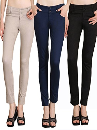 NGT Womens Pack Of Black, Navy Blue And Beige Formal Trousers In Special Quality.
