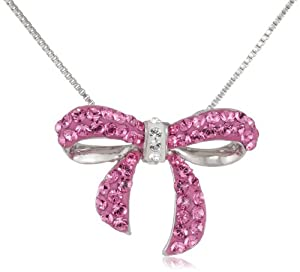 Carnevale Sterling Silver Pink Bow with Swarovski Elements Necklace, 18