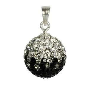 SilberDream scintillement bijoux - Pendentif en argent 925 avec cristaux Swarovski ICE blanc et noir 12mm de diamètre GSH001
