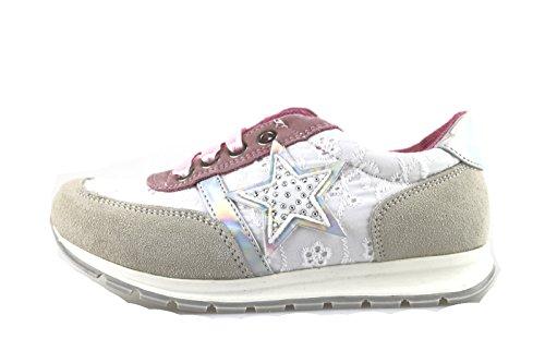 LAURA BIAGIOTTI sneakers bambina bianco tessuto rosa camoscio AH987 (35 EU)