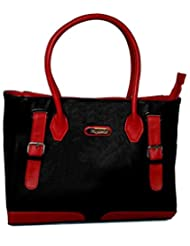 Rhysetta Women's Handbag / Shoulder / Tote / Ladies Bag / Branded Purse / Bag - BLACK AND RED Colour Combination
