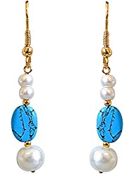Surat Diamonds Blue Oval Turquoise, Shell Pearl And Gold Plated Hanging Earrings For Women (SE255)