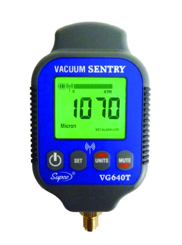 """Supco Vg640T Vacuum Sentry With Local Alarm And Remote Alarm, Lcd Display, 0-19000 Microns Range, 10% Accuracy, 1/4"""" Male Flare Fitting Connection"""