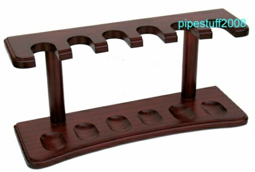 Real Wood Cherry Finish Tobacco Pipe Rack - Holds