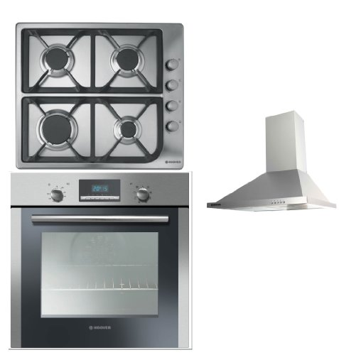 Hoover Built-in Multi Function Oven HOC709/6X, 4 Burner Gas Hob HGL64SCX and HECH616X 60CM Stainless Steel Chimney Hood