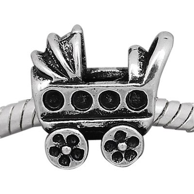 Silver Baby Carriage Stroller Charm Spacer Bead Fits European Pandora Troll Pugster Other Type Bracelet front-202728