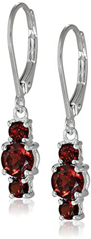 Sterling Silver Garnet Three-Stone Earrings