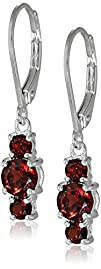 Sterling Silver Garnet 3-Stone Dangle…