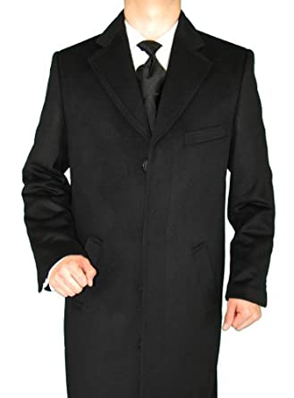 Mens Overcoat Long Modern Topcoat Wool Coat Black (Medium)