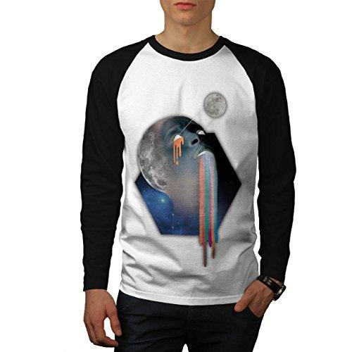Bald Head Moon Skull Galaxy Face Men NEW White M Baseball LS T-shirt   Wellcoda