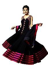 Aarsh Apparel Women's Black Georgette Embroidery Anarkali Suit