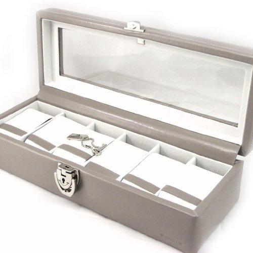 Leather box 'Munich' beige taupe wrist watch 6.