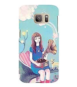 Printvisa Premium Back Cover Fairy On A Tree With A Gramophone Design For Samsung Galaxy S7::Samsung Galaxy S7 Duos with dual-SIM card slots