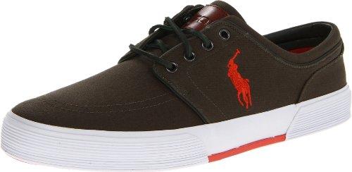 Polo Ralph Lauren Men'S Faxon Low Fashion Sneaker,Deep Olive/Holiday Orange,11 M Us