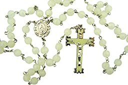 Glow in the Dark! Luminous Rosebud Rosary. White Material: Moulded 8 Mm Bead Size: 22 1âÂÂ\