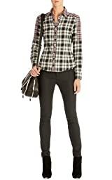 Contrast plaid panel shirt
