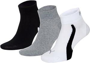 Puma Lifestyle - Chaussettes de Sport - Lot de 3 - Graphique - Mixte Adulte - Blanc/Gris/Noir - 39-42 EU
