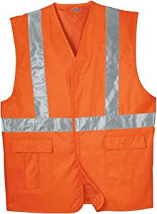 Dickie's VE201AO High Visibility Orange ANSI Class 2 Utility Vest, Large