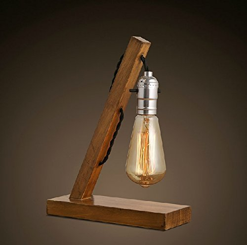 Loft Retro Wood E27 Edison Table Lamp Cafe Home Bar Decoration 6