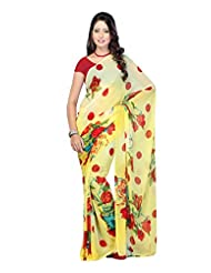 Fabdeal Light Yellow Faux Georgette Printed Saree Sari Sarees