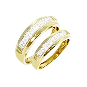0.30 CT, Round Brilliant Cut Diamond Micro-pave Setting Couple Band in 10K Yellow Gold