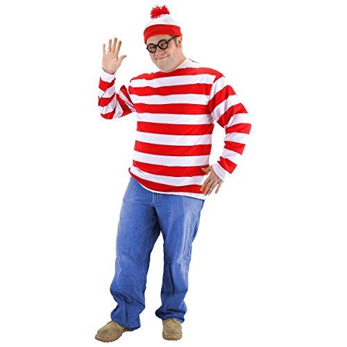 [GSG Where's Waldo Costume Adult Teen Easy Funny Halloween Fancy Dress] (Wheres Waldo Girl Halloween Costume)