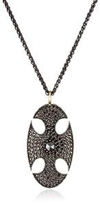 Mizuki Silver and Black Diamond Oval Cross Shield Pendant Necklace