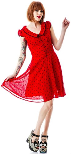 Voodoo Vixen Chiffon Polka Dot Flocked EMO Tattoo Rockabilly Vintage 50s Dress (S) (50s Tattoos)