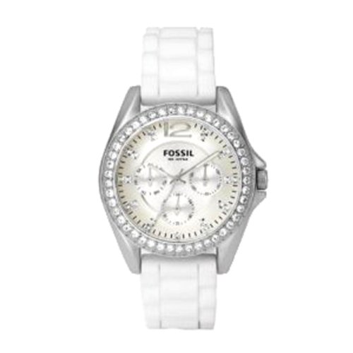 Fossil Women's ES2344 White Silicone Strap Silver Glitz Analog Dial Multifunction Watch